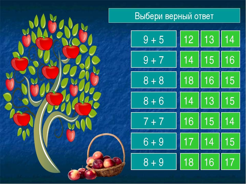 Выбери верный ответ 9 + 5 9 + 7 8 + 8 8 + 6 7 + 7 6 + 9 8 + 9 12 13 14 14 15...