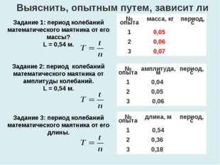 Выяснить, опытным путем, зависит ли Задание 1: период колебаний математическо