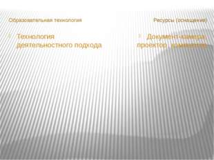 Образовательная технология Ресурсы (оснащение) Технология деятельностного по