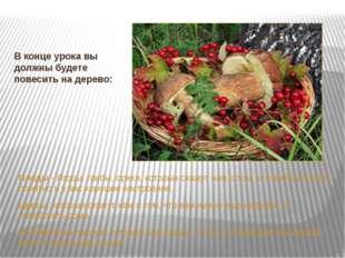 В конце урока вы должны будете повесить на дерево: Плоды - Ягоды, грибы, орех