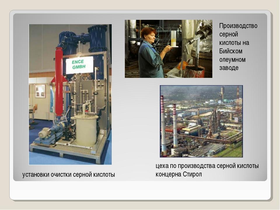 установки очистки серной кислоты Производство серной кислоты на Бийском олеум...