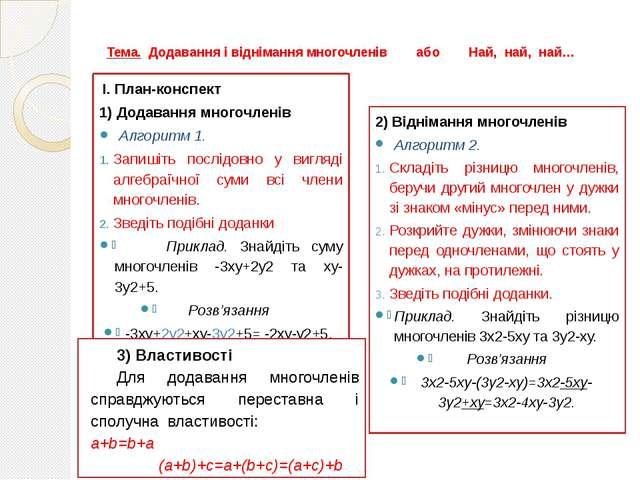 Тема. Додавання і віднімання многочленів або Най, най, най… І. План-конспект...