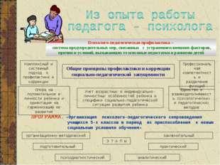 Психолого-педагогическая профилактика – система предупредительных мер, связан