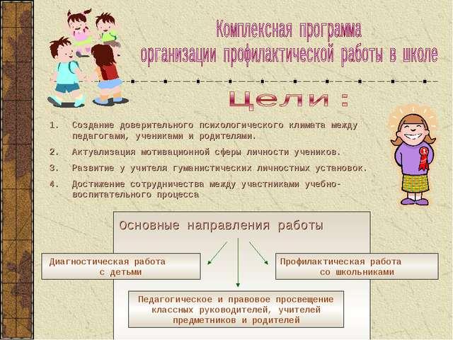 Создание доверительного психологического климата между педагогами, учениками...