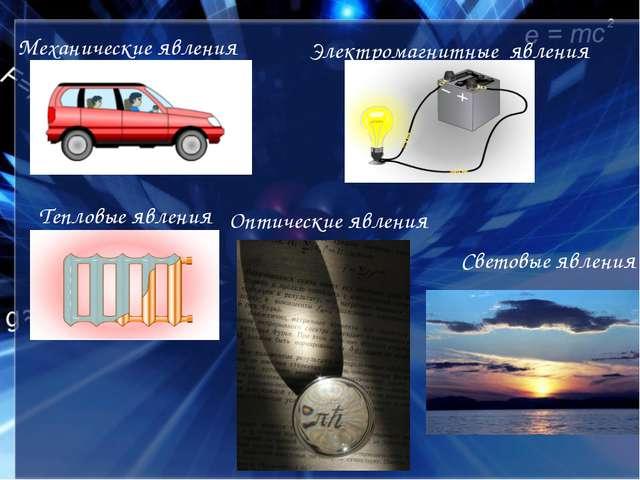 Механические явления Тепловые явления Электромагнитные явления Световые явлен...