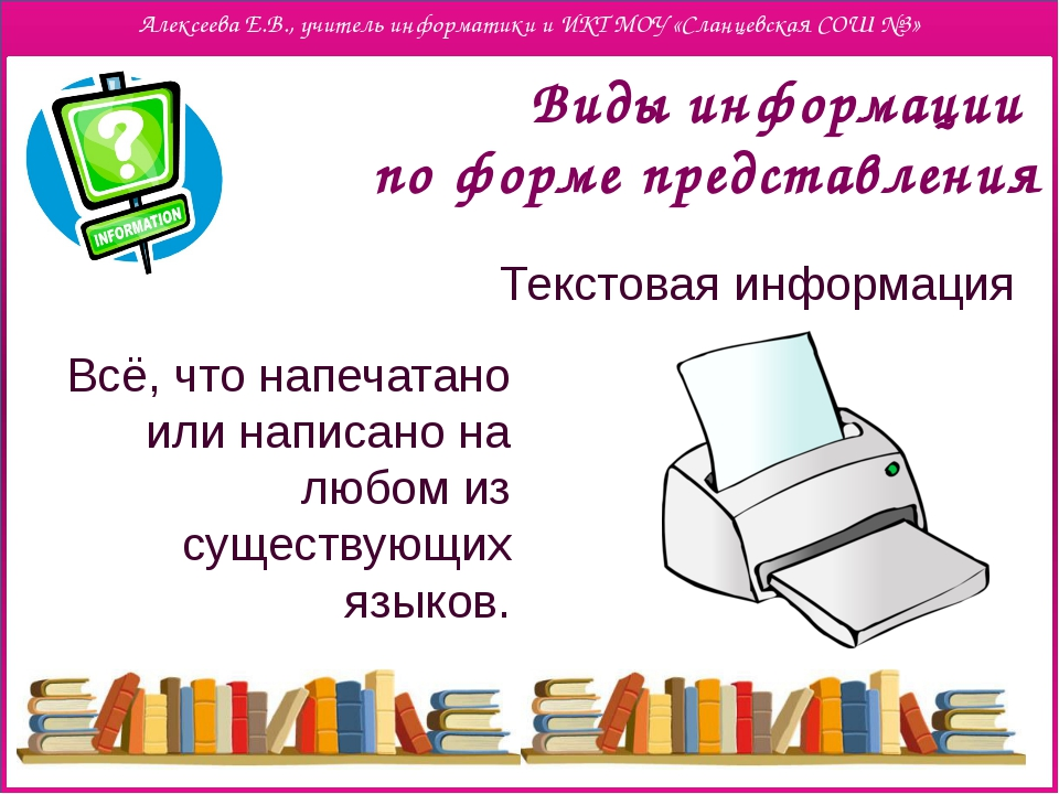Виды информации по форме представления Текстовая информация Всё, что напечат...