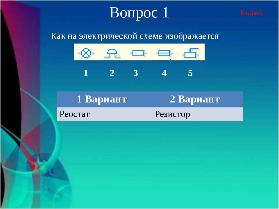 8 класс Вопрос 1 Как на электрической схеме изображается 1 2 3 4 5 1 Вариант...