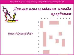 Пример использования метода координат Игра «Морской бой» а б в г г е ж з и к
