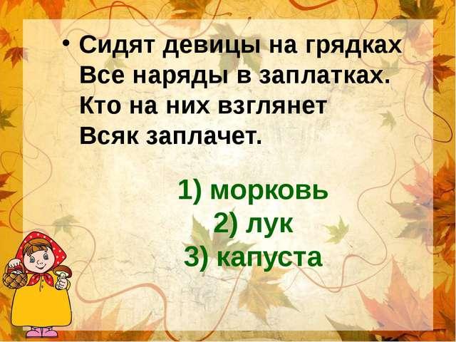 1) морковь 2) лук 3) капуста Сидят девицы на грядках Все наряды в заплатках....