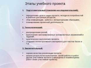 Этапы учебного проекта Подготовительный (поисково-исследовательский): определ