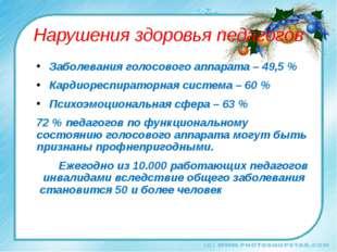 Нарушения здоровья педагогов Заболевания голосового аппарата – 49,5 % Кардиор