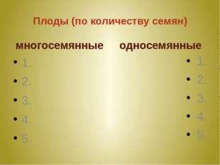 Плоды (по количеству семян) многосемянные 1. 2. 3. 4. 5. односемянные 1. 2. 3