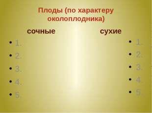 Плоды (по характеру околоплодника) сочные 1. 2. 3. 4. 5. сухие 1. 2. 3. 4. 5.