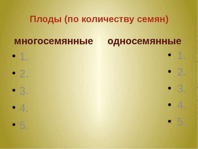 Плоды (по количеству семян) многосемянные 1. 2. 3. 4. 5. односемянные 1. 2. 3...