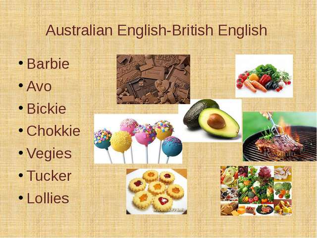 Australian English-British English Barbie Avo Bickie Chokkie Vegies Tucker Lo...