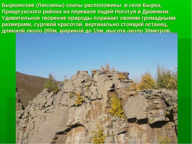 Быркинские (Люскины) скалы расположены в селе Бырка, Приаргунского района на...
