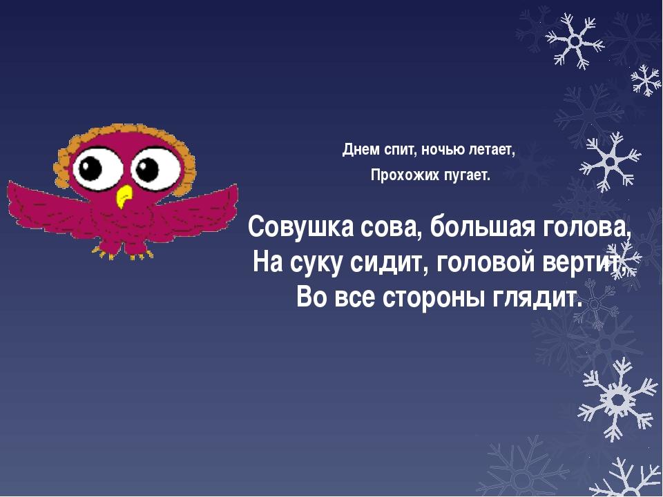 Днем спит, ночью летает, Прохожих пугает. Совушка сова, большая голова, На су...