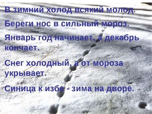 В зимний холод всякий молод. Береги нос в сильный мороз. Январь год начинает,...