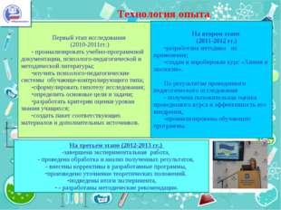 . Технология опыта. . Первый этап исследования (2010-2011гг.) - проанализиров