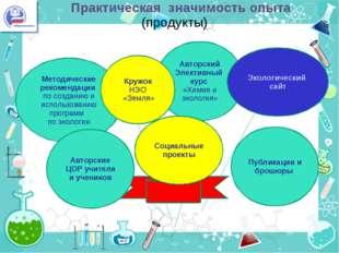 Практическая значимость опыта (продукты) - -. Методические рекомендации по с