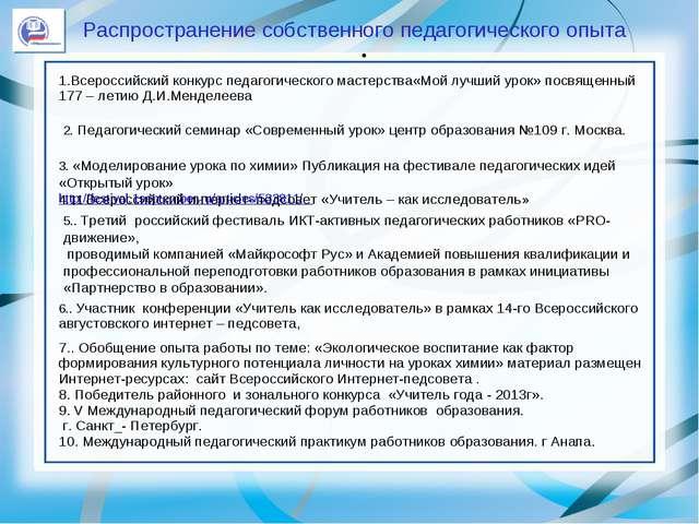 . Распространение собственного педагогического опыта 1.Всероссийский конкурс...