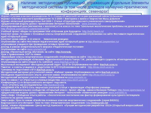 Наличие методических публикаций, отражающих отдельные элементы методической с...