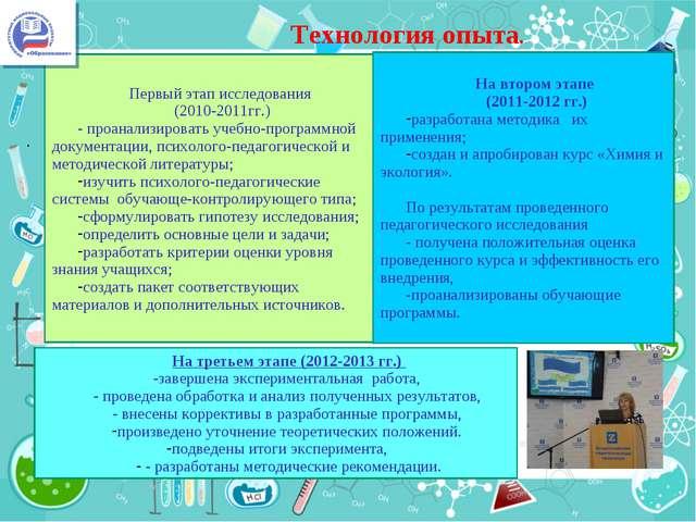 . Технология опыта. . Первый этап исследования (2010-2011гг.) - проанализиров...