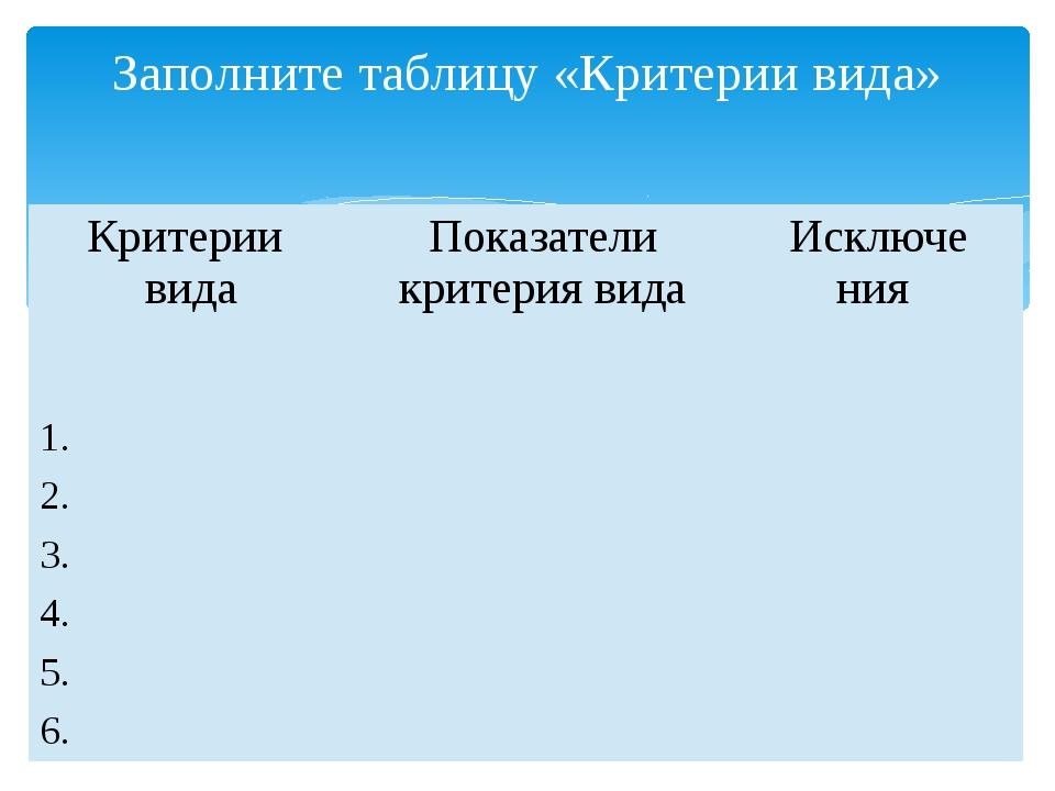 Заполните таблицу «Критерии вида» Критерии вида Показателикритерия вида Исклю...