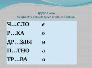 группа «Б» соедините стрелочками слова с буквами Ч…СЛО е Р…КА о ДР…ЗДЫ и П…ТН