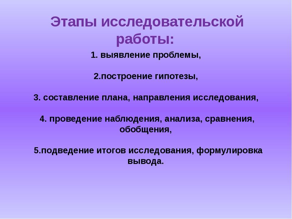 1. выявление проблемы, 2.построение гипотезы, 3. составление плана, направлен...