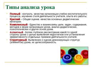 Типы анализа урока Полный - контроль качества организации учебно-воспитательн