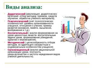 Виды анализа: Дидактический (реализация дидактических категорий -отбор методо