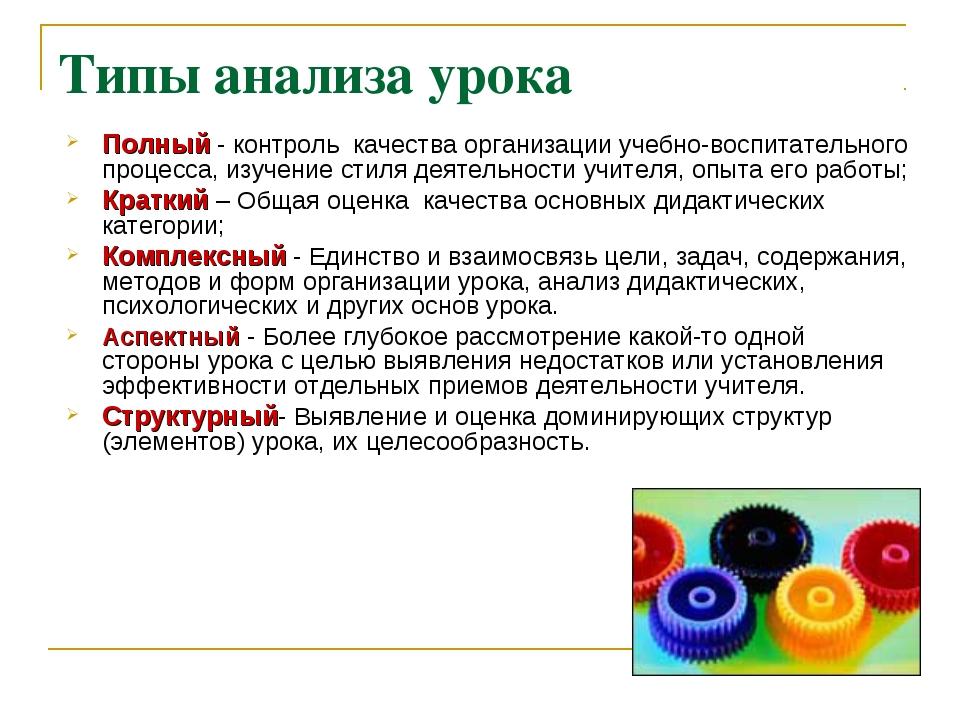 Типы анализа урока Полный - контроль качества организации учебно-воспитательн...