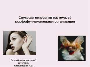 Слуховая сенсорная система, её морфофункциональная организация Разработала уч