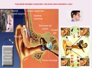 Слуховой аппарат позволяет частично восстановить слух.