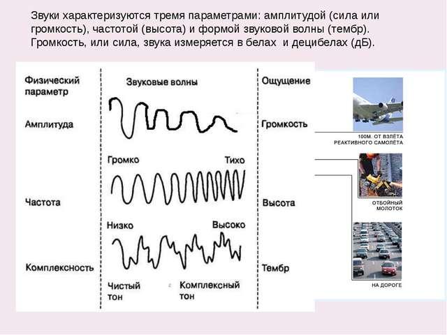 Звуки характеризуются тремя параметрами: амплитудой (сила или громкость), час...