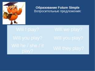 Образование Future Simple Вопросительные предложения: Will Iplay? Willwe play