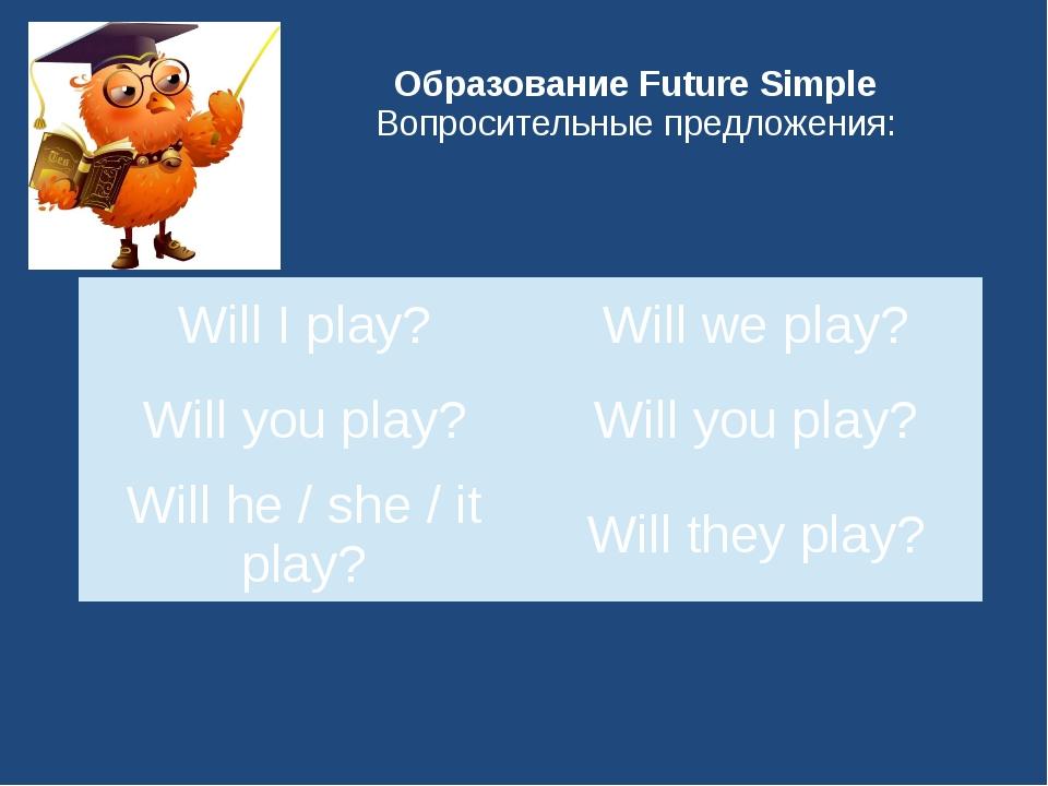 Образование Future Simple Вопросительные предложения: Will Iplay? Willwe play...