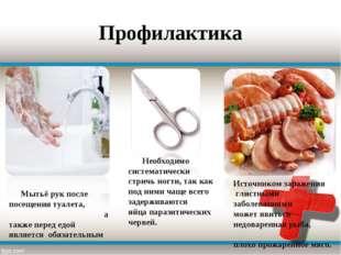 Профилактика Мытьё рук после посещения туалета, а также перед едой является о