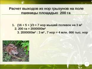 1. (16 + 5 + )/3 = 7 нор мышей полевок на 3 м2 2. 200 га = 2000000м2 3. 2000