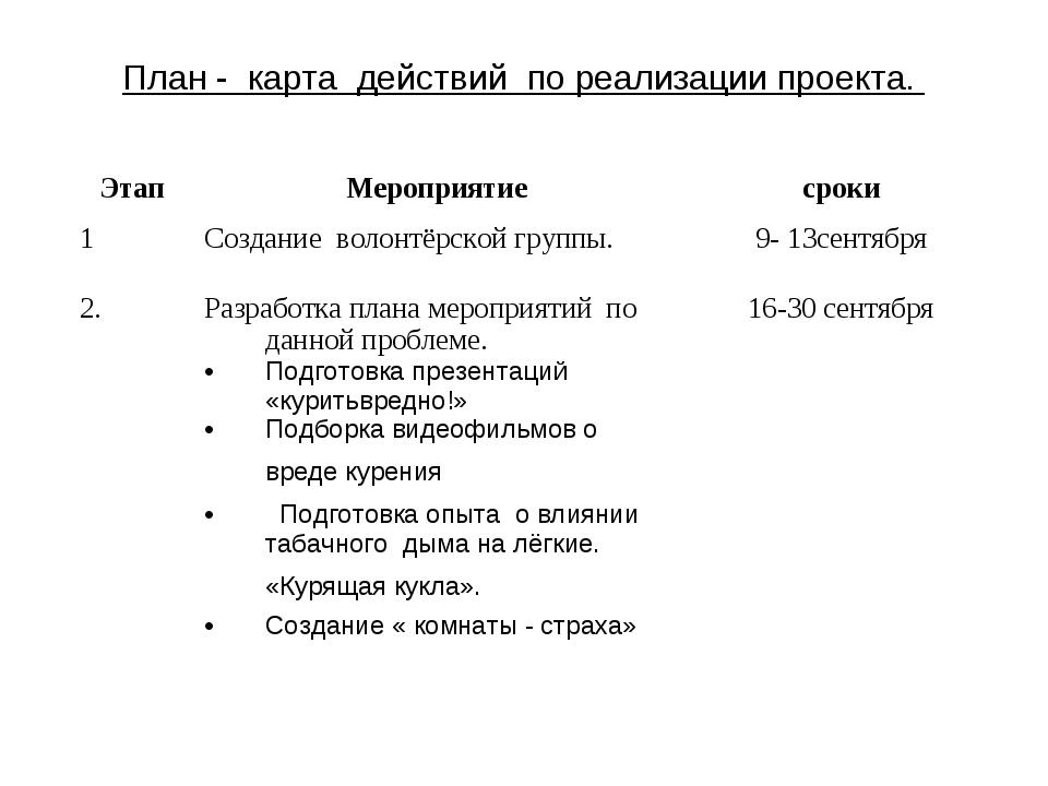 План - карта действий по реализации проекта.