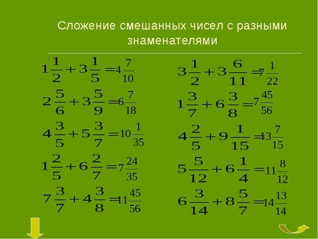Сложение смешанных чисел с разными знаменателями