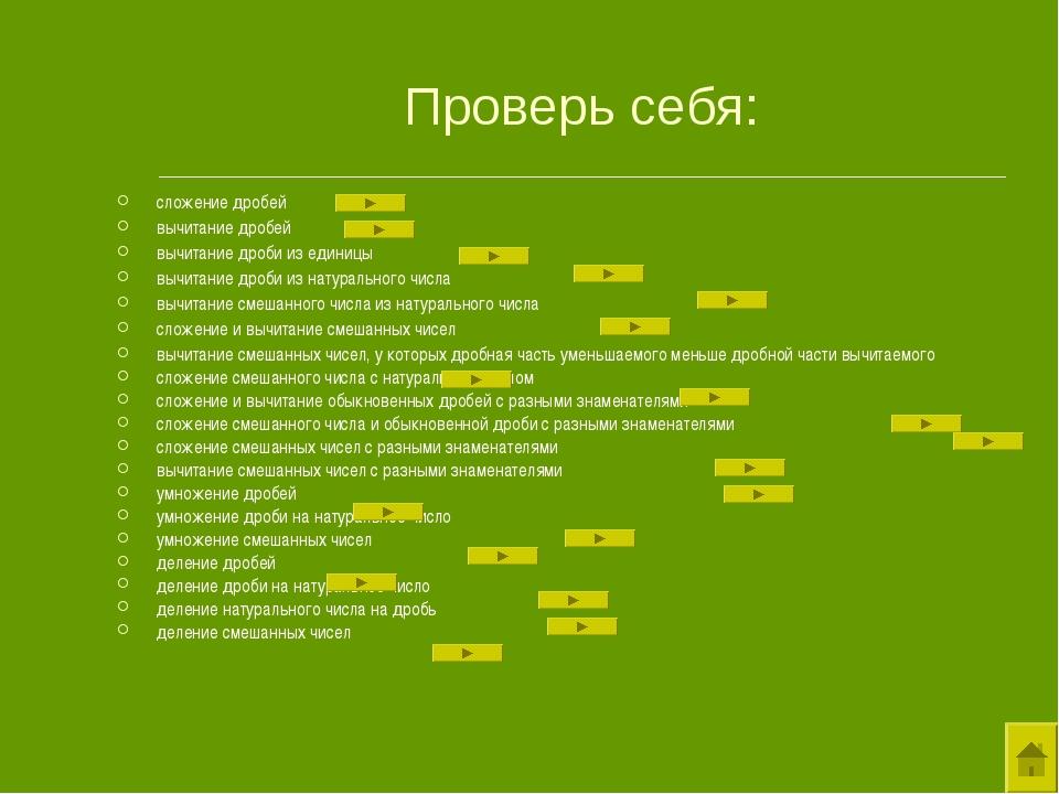 Проверь себя: сложение дробей вычитание дробей вычитание дроби из единицы выч...