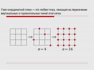 Узел координатной стеки — это любая точка, лежащая на пересечении вертикальны
