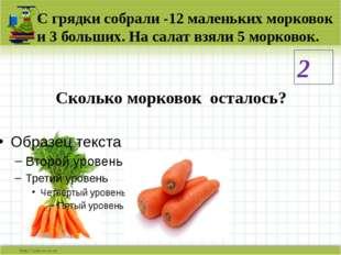С грядки собрали -12 маленьких морковок и 3 больших. На салат взяли 5 морково