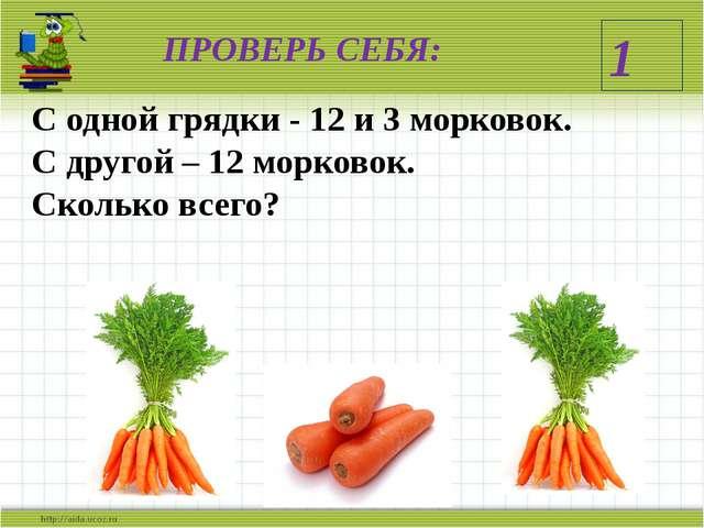 ПРОВЕРЬ СЕБЯ: С одной грядки - 12 и 3 морковок. С другой – 12 морковок. Сколь...
