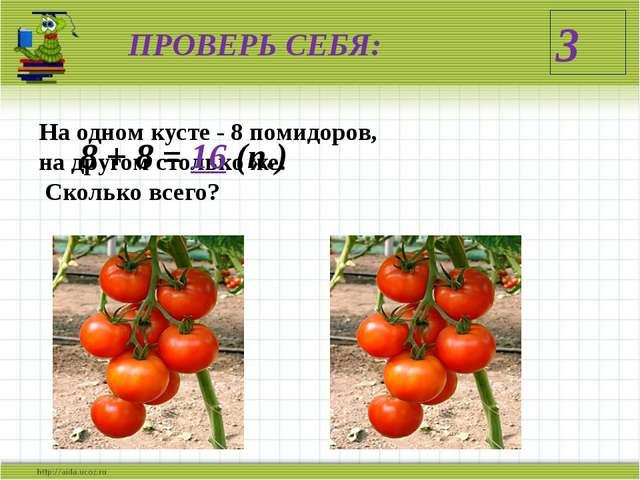 ПРОВЕРЬ СЕБЯ: На одном кусте - 8 помидоров, на другом столько же. Сколько все...