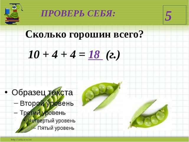 ПРОВЕРЬ СЕБЯ: 5 Сколько горошин всего? 10 + 4 + 4 = 18 (г.)