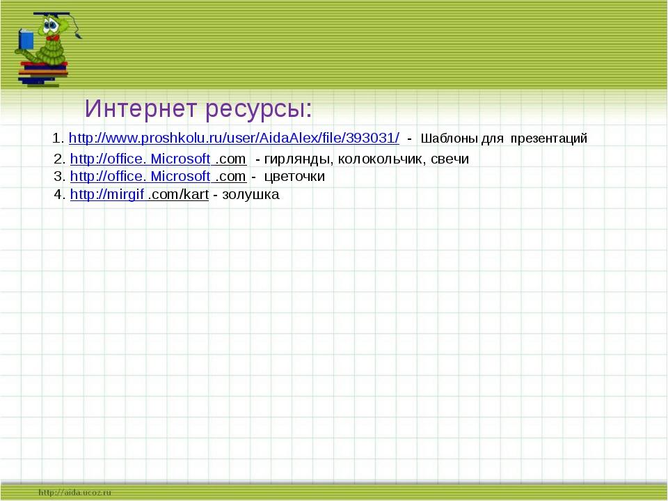 Интернет ресурсы: 1. http://www.proshkolu.ru/user/AidaAlex/file/393031/ - Ша...