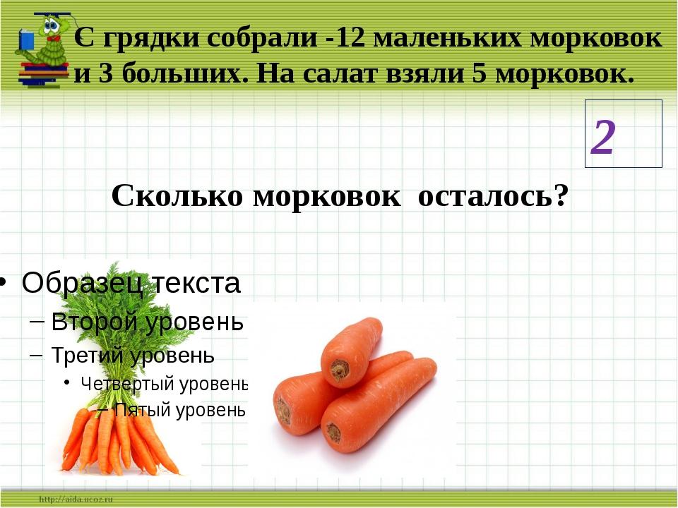 С грядки собрали -12 маленьких морковок и 3 больших. На салат взяли 5 морково...